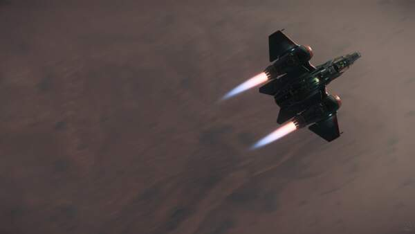 Star Citizen: Nine Tails Buccaneer skimming over Daymar